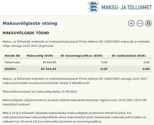 maksukohustuslasel Prima Velloce OÜ (12837393) maksude ja maksete võlg 30 934 EUR, seisuga 14.07.2017 maksusummadelt arvutatud arvestuslik intress 9 430,88 eurot.